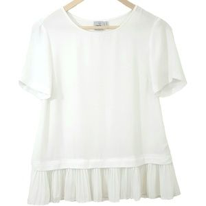ASOS Pleated Sheer Short Sleeve Top